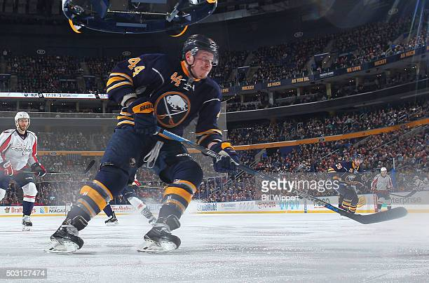 Nicolas Deslauriers of the Buffalo Sabres skates against the Washington Capitals during an NHL game on December 28 2015 at the First Niagara Center...