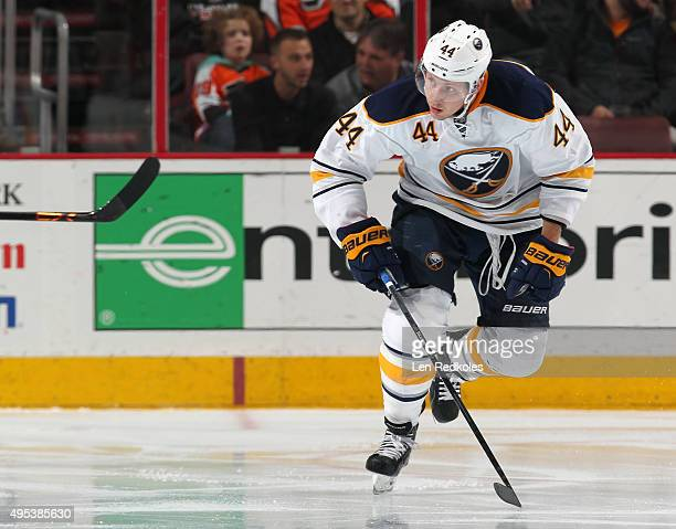 Nicolas Deslauriers of the Buffalo Sabres skates against the Philadelphia Flyers on October 27 2015 at the Wells Fargo Center in Philadelphia...