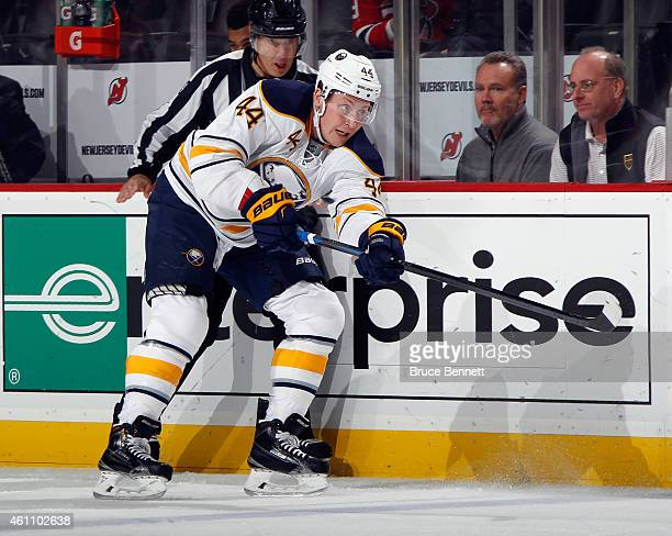 Nicolas Deslauriers of the Buffalo Sabres skates against the New Jersey Devils at the Prudential Center on January 6 2015 in Newark New Jersey The...