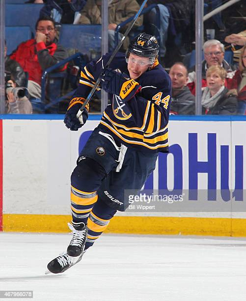 Nicolas Deslauriers of the Buffalo Sabres skates against the New Jersey Devils on March 20 2015 at the First Niagara Center in Buffalo New York