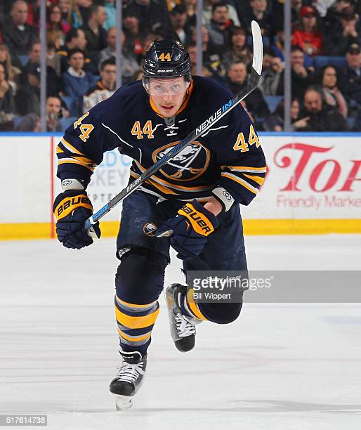 Nicolas Deslauriers of the Buffalo Sabres skates against the Ottawa Senators during an NHL game on March 18 2016 at the First Niagara Center in...