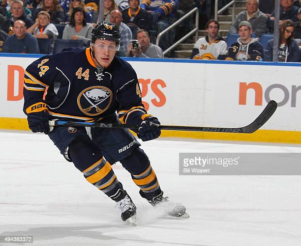 Nicolas Deslauriers of the Buffalo Sabres skates against the Toronto Maple Leafs during an NHL game on October 21 2015 at the First Niagara Center in...
