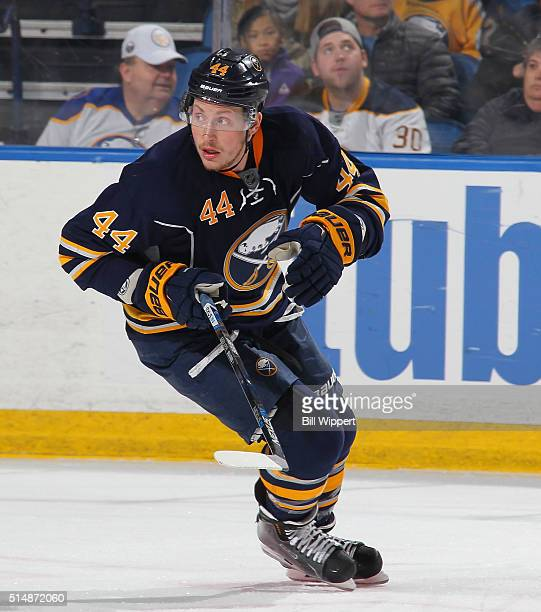 Nicolas Deslauriers of the Buffalo Sabres skates against the Minnesota Wild during an NHL game on March 5 2016 at the First Niagara Center in Buffalo...