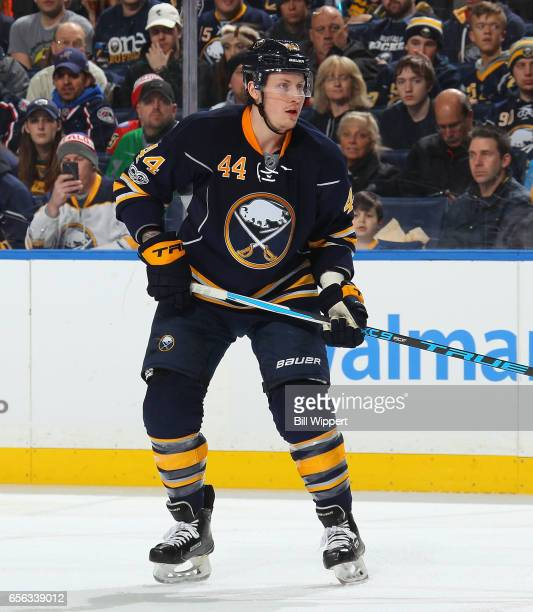 Nicolas Deslauriers of the Buffalo Sabres skates during an NHL game against the Columbus Blue Jackets at the KeyBank Center on March 11 2017 in...