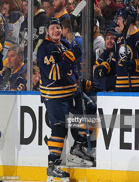 Nicolas Deslauriers of the Buffalo Sabres smiles during an NHL game against the Pittsburgh Penguins on February 21 2016 at the First Niagara Center...