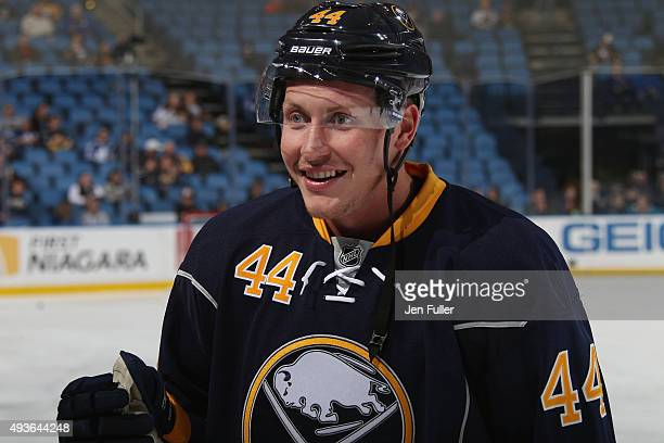 Nicolas Deslauriers of the Buffalo Sabres warms up to play the Toronto Maple Leafs at First Niagara Center on October 21 2015 in Buffalo New York
