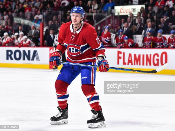 Nicolas Deslauriers of the Montreal Canadiens looks on against the Detroit Red Wings during the NHL game at the Bell Centre on December 2 2017 in...