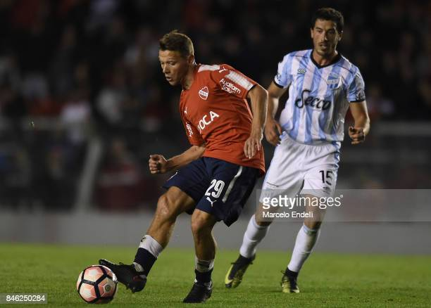 Nicolas Domingo of Independiente kicks the ball during a second leg match between Independiente and Atletico Tucuman as part of round of 16 of Copa...