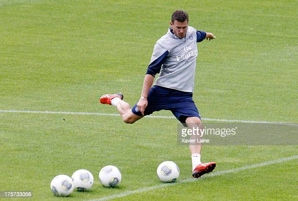 Nicolas Douchez of Paris SaintGermain in action during a training session at Clairefontaine training center on August 07 2013 in...