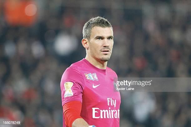 Nicolas Douchez of Paris SaintGermain in action during the French Ligue 1 between Paris SaintGermain and Olympique de Marseille at Parc des Princes...