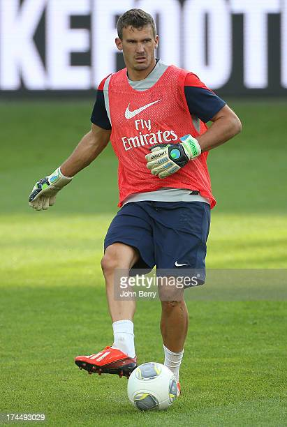 Nicolas Douchez of PSG in action during a training session on the eve of the friendly match between Paris SaintGermain and Real Madrid at the old...