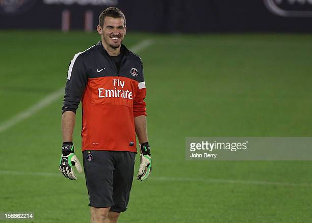 Nicolas Douchez of PSG in action during the Paris Saint Germain training session held at the Aspire Academy for Sports Excellence on January 1 2013...