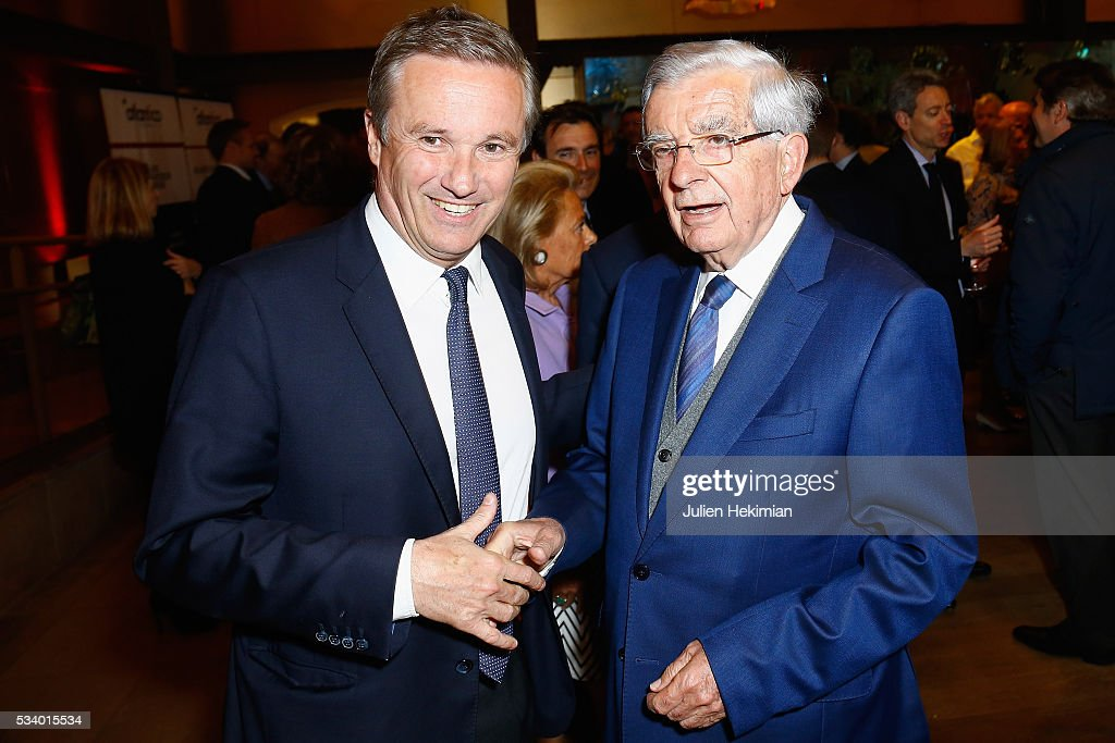 Nicolas Dupont Aignan and Jean Pierre Chevenement attend the Atlantico 5th Anniversary at Cafe Campana at Musee d'Orsay on May 24, 2016 in Paris, France.