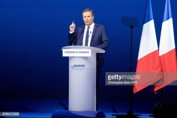 Nicolas Dupont Aignan designated two days earlier as the future Prime minister of the government of Marine Le Pen if she was elected President...