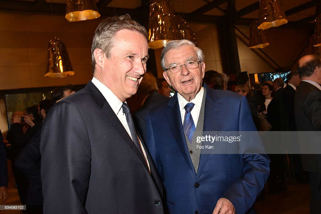 Nicolas Dupont Aignan, Jean Pierre Chevenement attend Atlantico 5th Anniversary at Cafe Campana in Musee D'Orsay on May 24, 2016 in Paris, France.