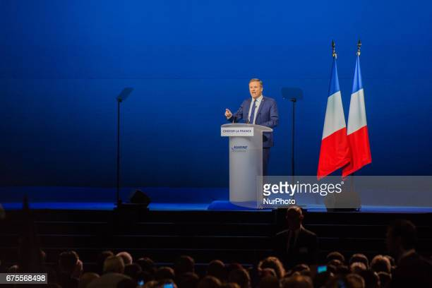 Nicolas DupontAignan delivers a speech during the rally of Marine Le Pen in Villepinte near Paris on Monday1st May 2017 He made an agreement with her...