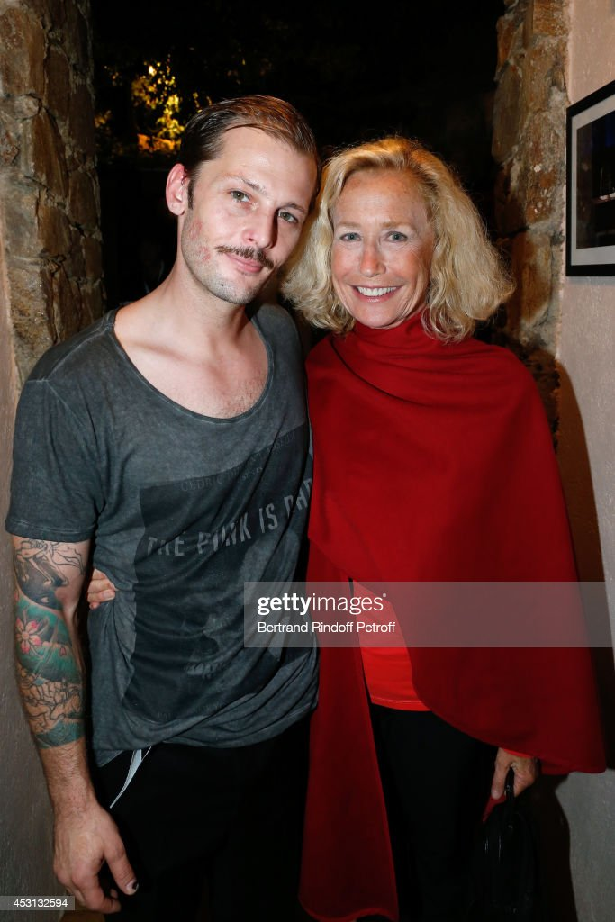 Nicolas Duvauchelle and Brigitte Fossey pose after 'Des journees entieres dans les arbres' play at the 30th Ramatuelle Festival Day 3 on August 3...
