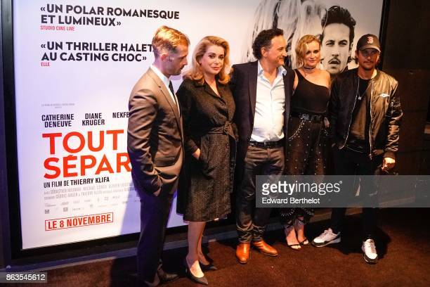 Nicolas Duvauchelle Catherine Deneuve Thierry Klifa Diane Kruger and Nekfeu attend the 'Tout nous separe' Premiere at UGC Cine Cite Bercy on October...