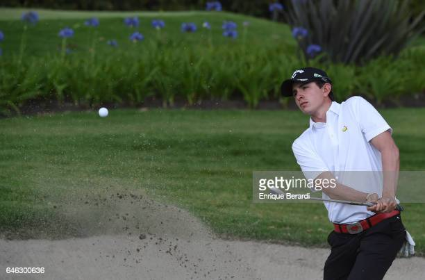Nicolas Echavarria of Colombia hits out of a bunker on the 15th hole during the final round of the PGA TOUR Latinoamerica 70 Avianca Colombia Open at...