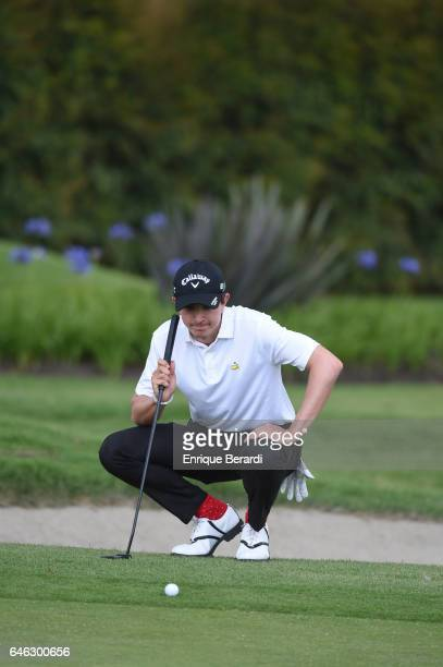 Nicolas Echavarria of Colombia lines up a putt on the 15th green during the final round of the PGA TOUR Latinoamerica 70 Avianca Colombia Open at...