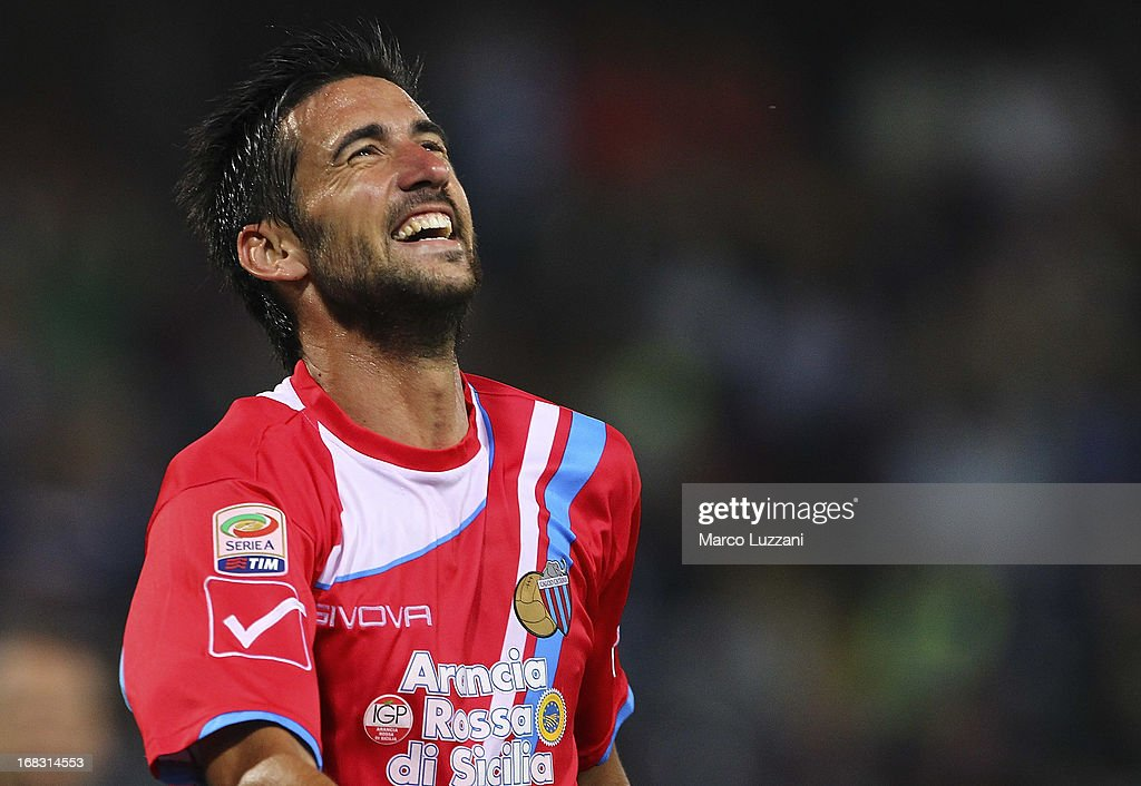 Nicolas Federico Spolli of Calcio Catania celebrates his goal during the Serie A match between UC Sampdoria and Calcio Catania at Stadio Luigi Ferraris on May 8, 2013 in Genoa, Italy.
