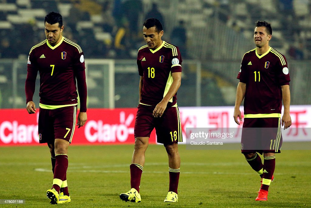 Nicolas Fedor, Juan Arango and Cesar Gonzalez of Venezuela look dejected after the 2015 Copa America Chile Group C match between Brazil and Venezuela at Monumental David Arellano Stadium on June 21, 2015 in Santiago, Chile.