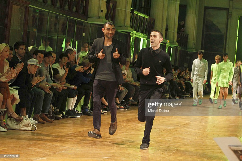Nicolas Formichetti and Romain Kremer during the Mugler Menswear Spring/Summer 2012 show as part of Paris Fashion Week at Jardin des Plantes on June 22, 2011 in Paris, France.