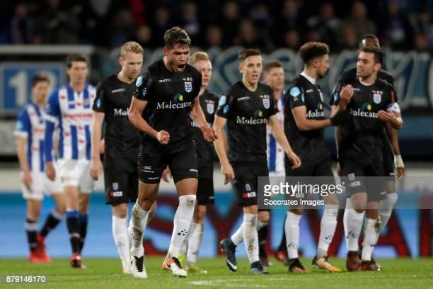 Nicolas Freire of PEC Zwolle celebrates 11 during the Dutch Eredivisie match between SC Heerenveen v PEC Zwolle at the Abe Lenstra Stadium on...