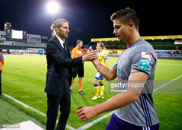 Nicolas Frutos head coach of RSC Anderlecht and Leander Dendoncker midfielder of RSC Anderlecht celebrates pictured during the Jupiler Pro League...