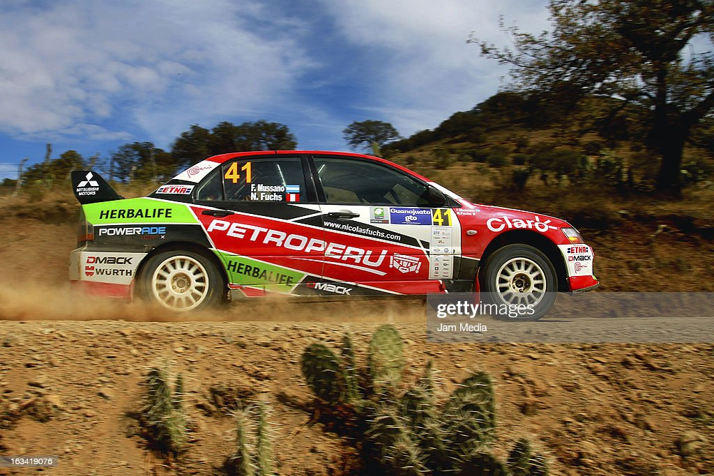 Nicolas Fuchs and Fernando Mussano of Peru during the WRC Rally Championship Mexico on March 09, 2013 in Leon , Mexico.