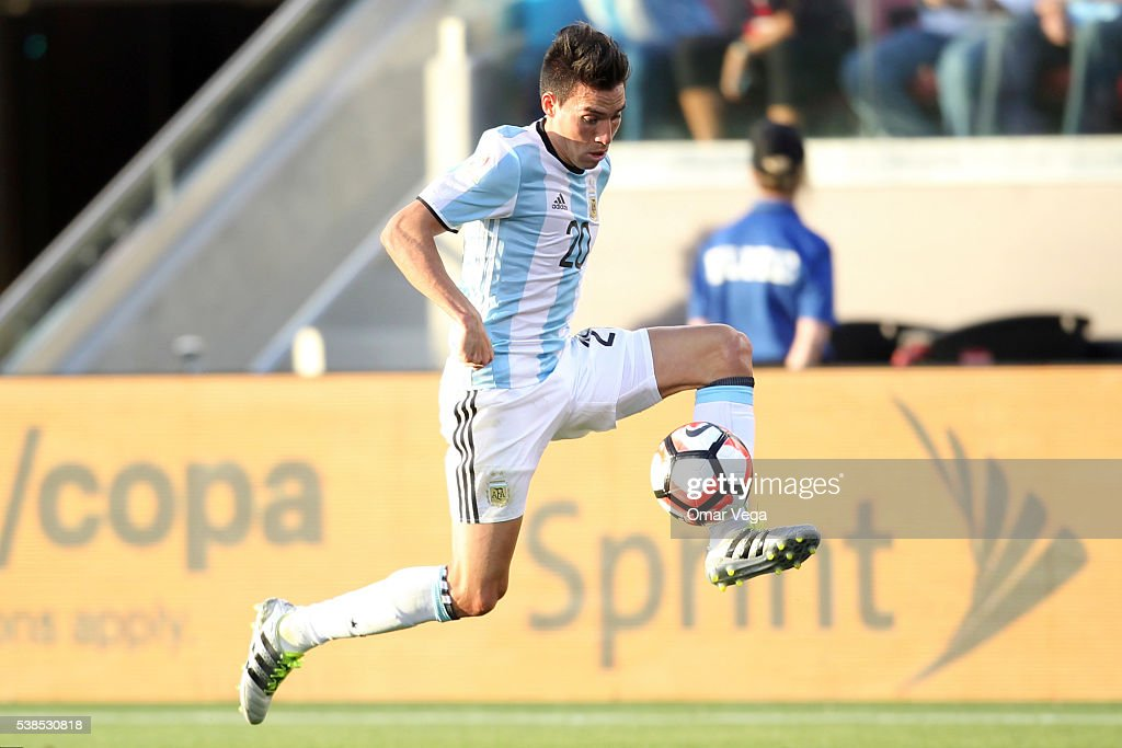 <a gi-track='captionPersonalityLinkClicked' href=/galleries/search?phrase=Nicolas+Gaitan&family=editorial&specificpeople=5538639 ng-click='$event.stopPropagation()'>Nicolas Gaitan</a> of Argentina controls the ball during a group D match between Argentina and Chile at Levi's Stadium as part of Copa America Centenario US 2016 on June 06, 2016 in Santa Clara, California, US.