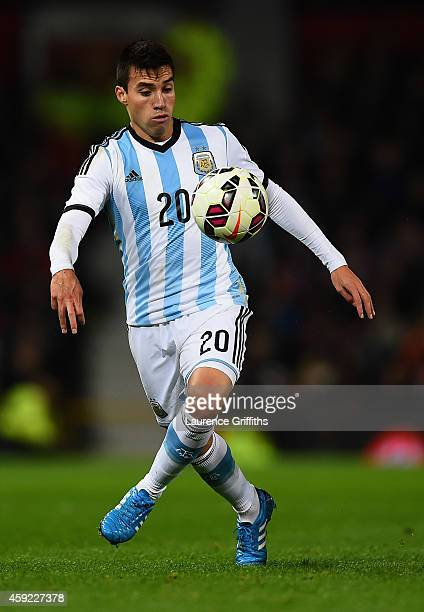 Nicolas Gaitan of Argentina in action during the International Friendly match between Argentina and Portugal at Old Trafford on November 18 2014 in...