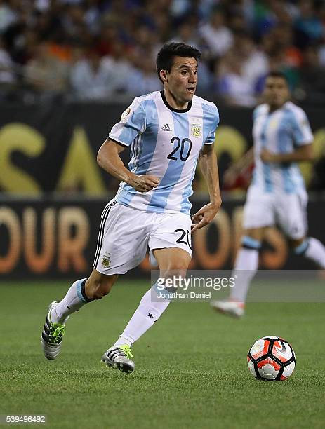 Nicolas Gaitan of Argentina looks to pass against Panama during a match in the 2016 Copa America Centenario at Soldier Field on June 10 2016 in...