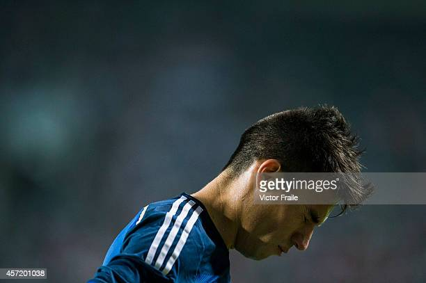 Nicolas Gaitan of Argentina reacts during the International Friendly Match between Hong Kong and Argentina at the Hong Kong Stadium on October 14...