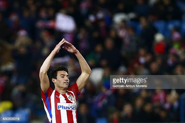 Nicolas Gaitan of Atletico de Madrid celebrates scoring their opening goal during the Copa del Rey Round of 16 match between Club Atletico de Madrid...
