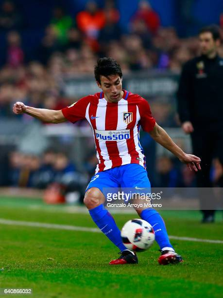 Nicolas Gaitan of Atletico de Madrid controls the ball during the Copa del Rey semifinal first leg match between Club Atletico de Madrid and FC...
