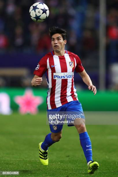 Nicolas Gaitan of Atletico de Madrid in action during the UEFA Champions League Round of 16 second leg match between Club Atletico de Madrid and...