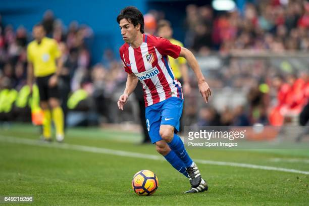 Nicolas Gaitan of Atletico de Madrid runs with the ball during the match Atletico de Madrid vs Valencia CF a La Liga match at the Estadio Vicente...