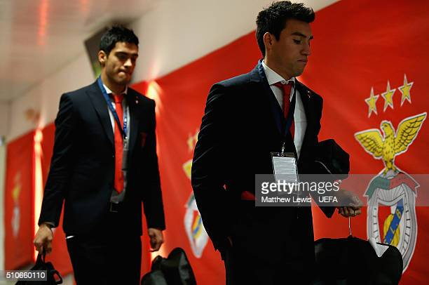 Nicolas Gaitan of Benfica arrives at the stadium ahead of the first leg of the UEFA Champions League Round of 16 match between SL Benfica and FC...