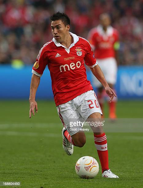 Nicolas Gaitan of Benfica in the ball during the UEFA Europa League Final between SL Benfica and Chelsea FC at Amsterdam Arena on May 15 2013 in...