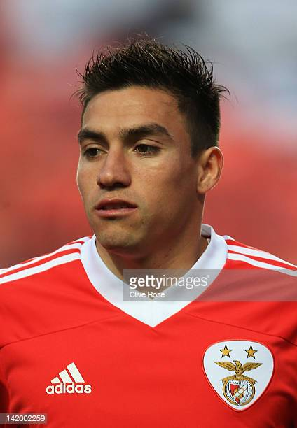 Nicolas Gaitan of Benfica looks on during the UEFA Champions League Quarter Final first leg match between Benfica and Chelsea at Estadio da Luz on...