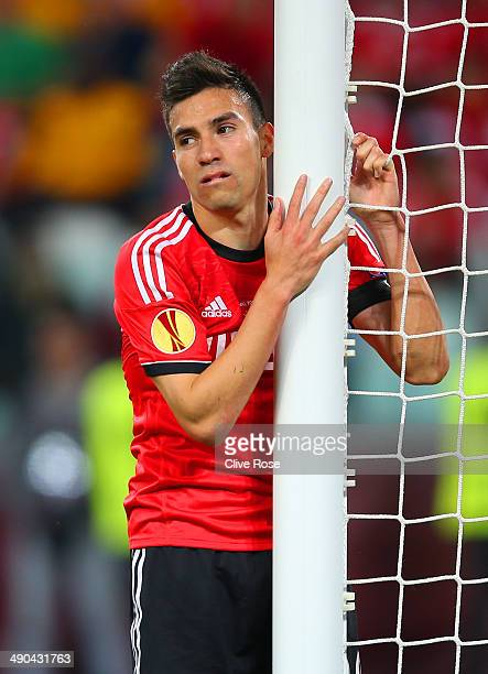 Nicolas Gaitan of Benfica reacts during the UEFA Europa League Final match between Sevilla FC and SL Benfica at Juventus Stadium on May 14 2014 in...
