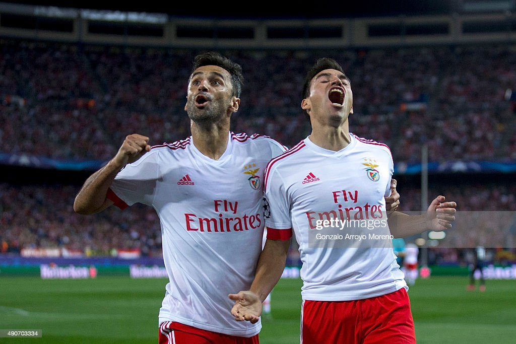 <a gi-track='captionPersonalityLinkClicked' href=/galleries/search?phrase=Nicolas+Gaitan&family=editorial&specificpeople=5538639 ng-click='$event.stopPropagation()'>Nicolas Gaitan</a> (R) of SL Benfica celebrates scoring their opening goal with teammate <a gi-track='captionPersonalityLinkClicked' href=/galleries/search?phrase=Jonas+-+Brazilian+Forward&family=editorial&specificpeople=10555097 ng-click='$event.stopPropagation()'>Jonas</a> Goncalves (L) during the UEFA Champions League Group C match between Club Atletico de Madrid and SL Benfica at Vicente Calderon Stadium on September 30, 2015 in Madrid, Spain.
