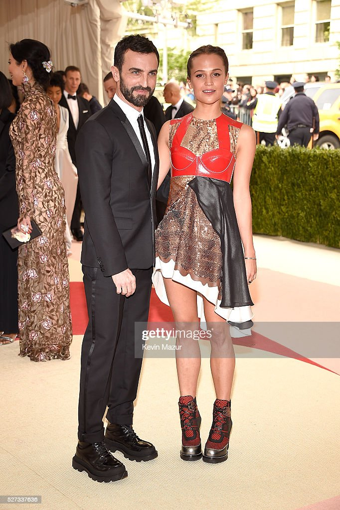 Nicolas Ghesquiere and Alicia Vikander attend 'Manus x Machina: Fashion In An Age Of Technology' Costume Institute Gala at Metropolitan Museum of Art on May 2, 2016 in New York City.