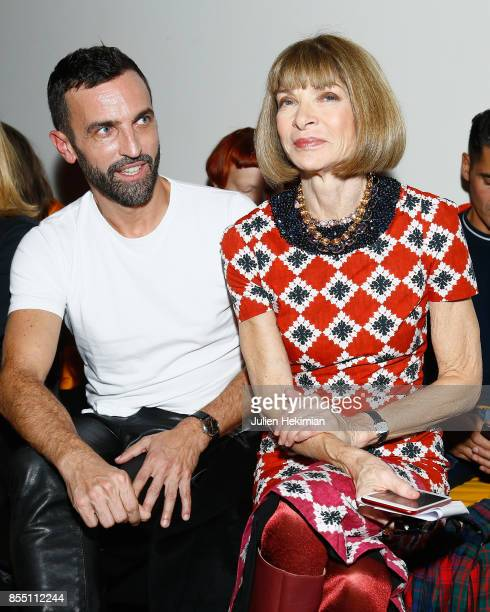 Nicolas Ghesquiere and Anna Wintour attend the Paco Rabanne show as part of the Spring Summer 2018 Womenswear Show at Grand Palais on September 28...