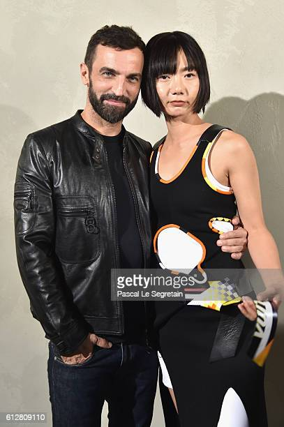 Nicolas Ghesquiere and Bae Doona attend the Louis Vuitton show as part of the Paris Fashion Week Womenswear Spring/Summer 2017 on October 5 2016 in...