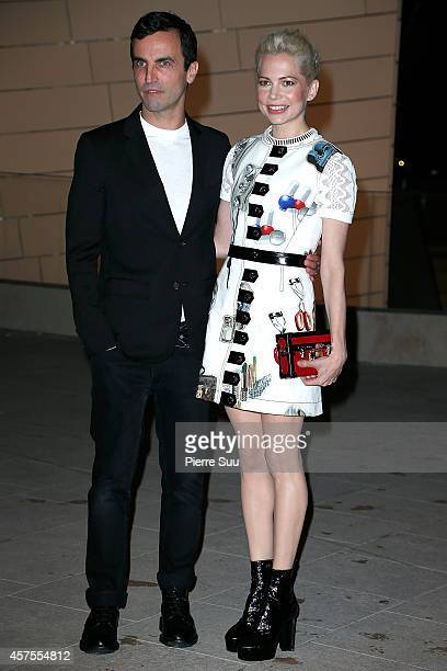 Nicolas Ghesquiere and Michelle Williams attend the Foundation Louis Vuitton Opening at Foundation Louis Vuitton on October 20 2014 in...
