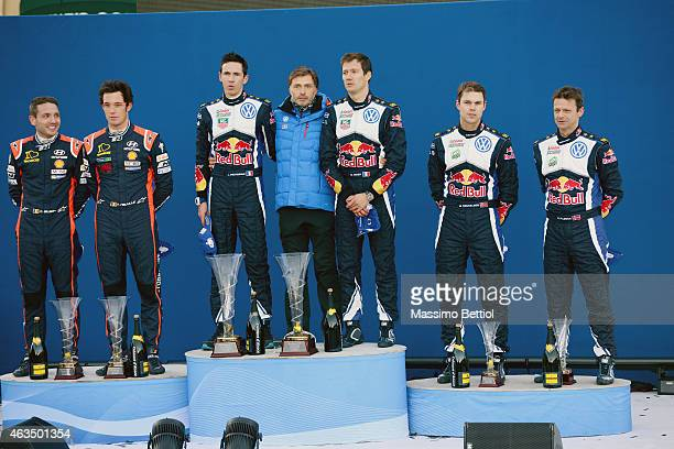 Nicolas Gilsoul of Belgium and Thierry Neuville of Belgium Julien Ingrassia of France Jost Capito head of Volkswagen Motorsport Sebastien Ogier of...