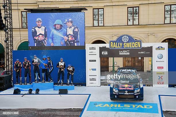 Nicolas Gilsoul of Belgium and Thierry Neuville of Belgium Julien Ingrassia of France Jost Capito head of Volkswagen Motorsport Sebastien Ogier of...