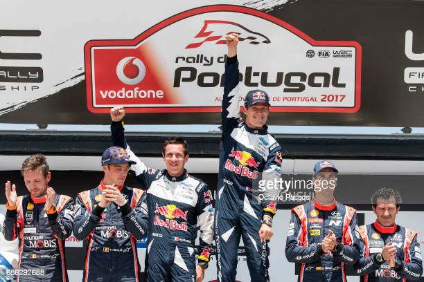 Nicolas Gilsoul Thierry Neuville Julien Ingrassia Sebastien Ogier Dani Sordo and Marc Marti celebrates on the Power Stage podium at the end of the...